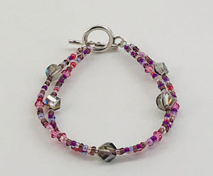 glassand crystal bracelet in mixed purples and greys
