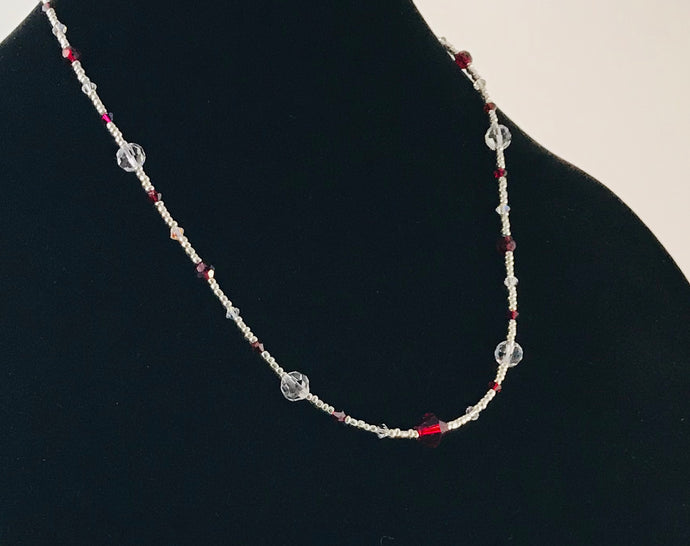 red and white glass and crystal necklace