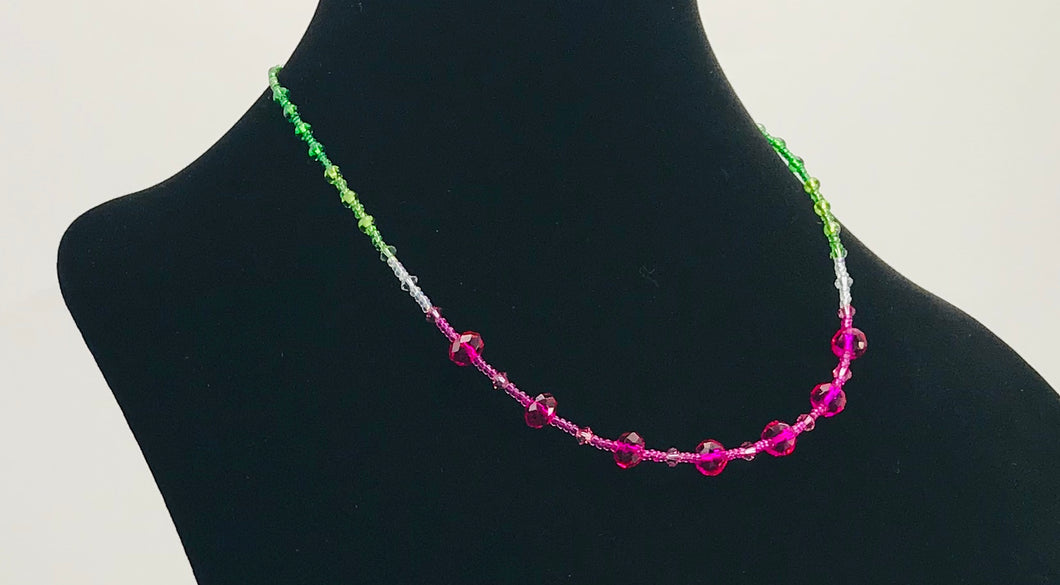 glass and crystal necklace in watermelon colors