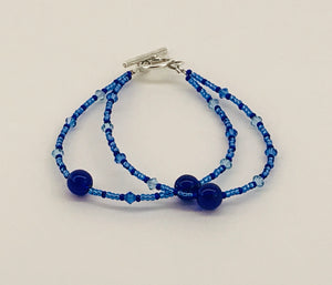 glass and crystal bracelet in blues