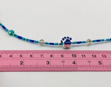Load image into Gallery viewer, blues and grey glass bead necklace with paw charm