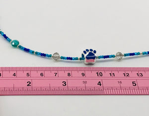 blues and grey glass bead necklace with paw charm