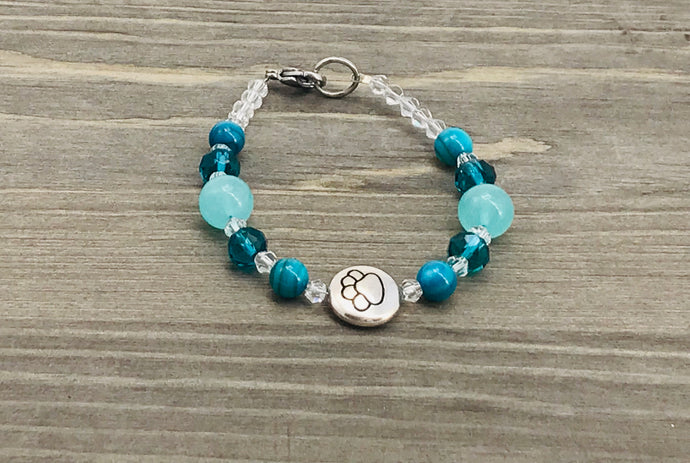 Stamped Paw Bracelet - sea green