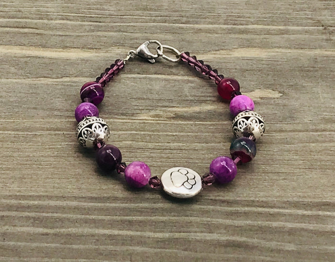 Stamped Paw Bracelet - purple