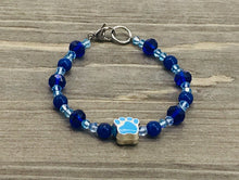 Load image into Gallery viewer, Blue Paw Bracelet - blue crystal