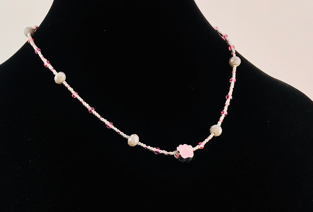 pink and champagne crystal and glass necklace with paw charm