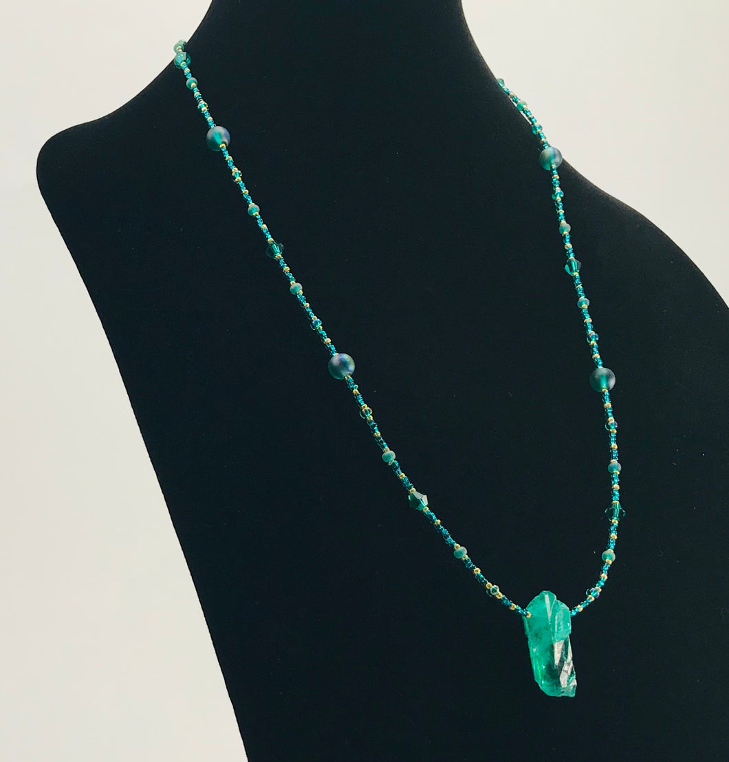sea green glass and crystal necklace with stone pendant