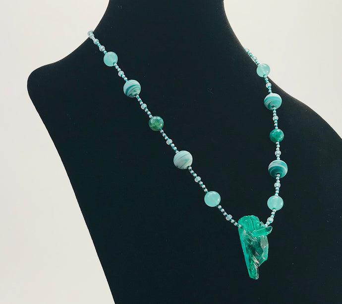 mint green glass bead necklace with stone pendant