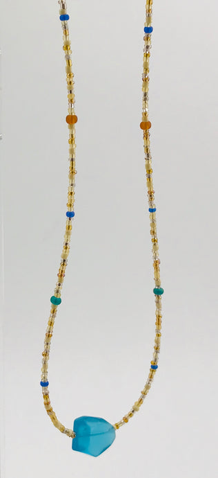 golden sand glass bead necklace with frosted glass blue beads