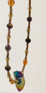 bronze, purple and gold glass bead necklace