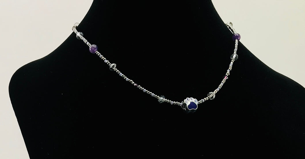 purple and grey glass and crystal necklace with paw charm