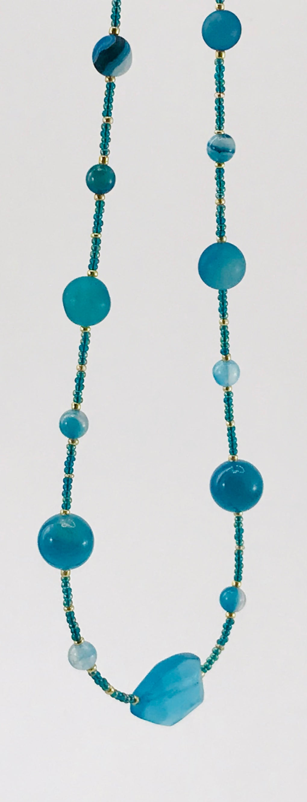 blue green and gold glass bead necklace