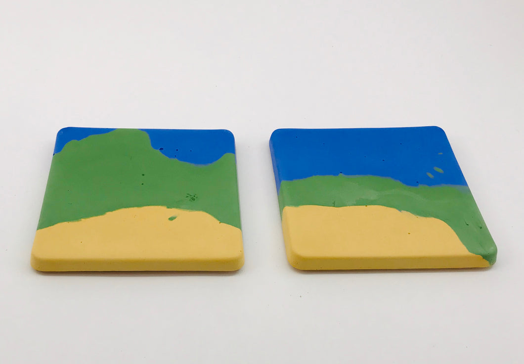 tri-color molded cement coasters with cork backs