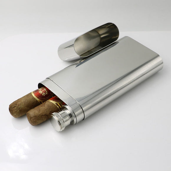 High Quality304 Stainless Steel Double Cigar Tube Box with hip flask Exquisite Mirror Polished Cigar Case cigar