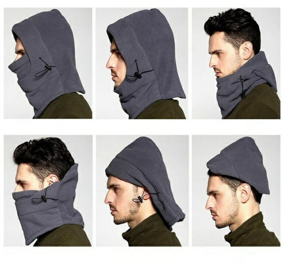 6 in 1 Thermal Fleece Balaclava Hood Police Swat Ski Bike Wind Stopper Mask Outdoor camping equipment edc gear
