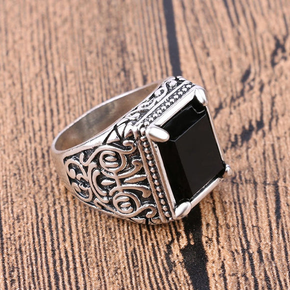 Mens Big Black Stone Square Ring  Chinese Wind Totem Men's Ring Silver Color For Male Jewelry Vintage Wedding Party Gift
