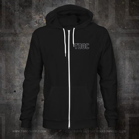 "TBOC Premium Hoodie ""TBOC"" Front Small Large Back Logo Slate – Black - TBOC Supply"