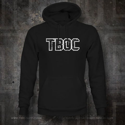 "TBOC Hooded Sweatshirt ""TBOC"" Letters Front Large Back Logo White – Black - TBOC Supply"