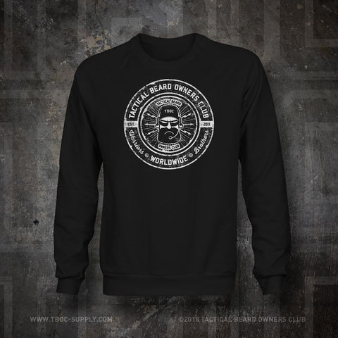TBOC Crew Sweatshirt Logo White – Black - TBOC Supply