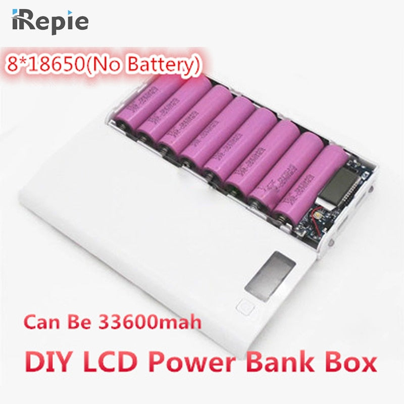Universal 2A 8*18650 5x18650 LCD Dual USB Battery Charger Kit DIY 18650 box Power Bank Pack Case Charger with Flashlight phone-teefury