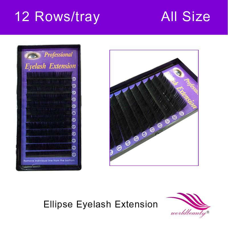 Free shipping high quality new type fashion ellipse Flat eyelash extensions 1 tray 12rows/tray all size available-teefury