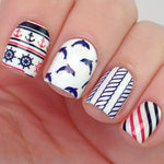 BORN PRETTY BP-W07 Anchor Stripe Nail Art Water Decals Transfer Stickers Nail Art Decorations #20598-teefury