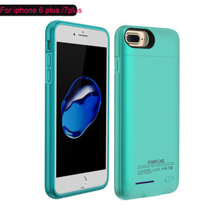 For iPhone 6 6s 7 plus External Battery Charger Case Cell Phone Power Bank Powerbank Charging Case Cover Built in Metal Sheet-teefury