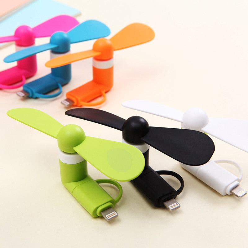 10pcs 6 colors Wholesale Portable Travel Mini USB + Micro USB Fan Fans for Android smart Phone for iPhone 6s 6 Plus 5s colorful-teefury