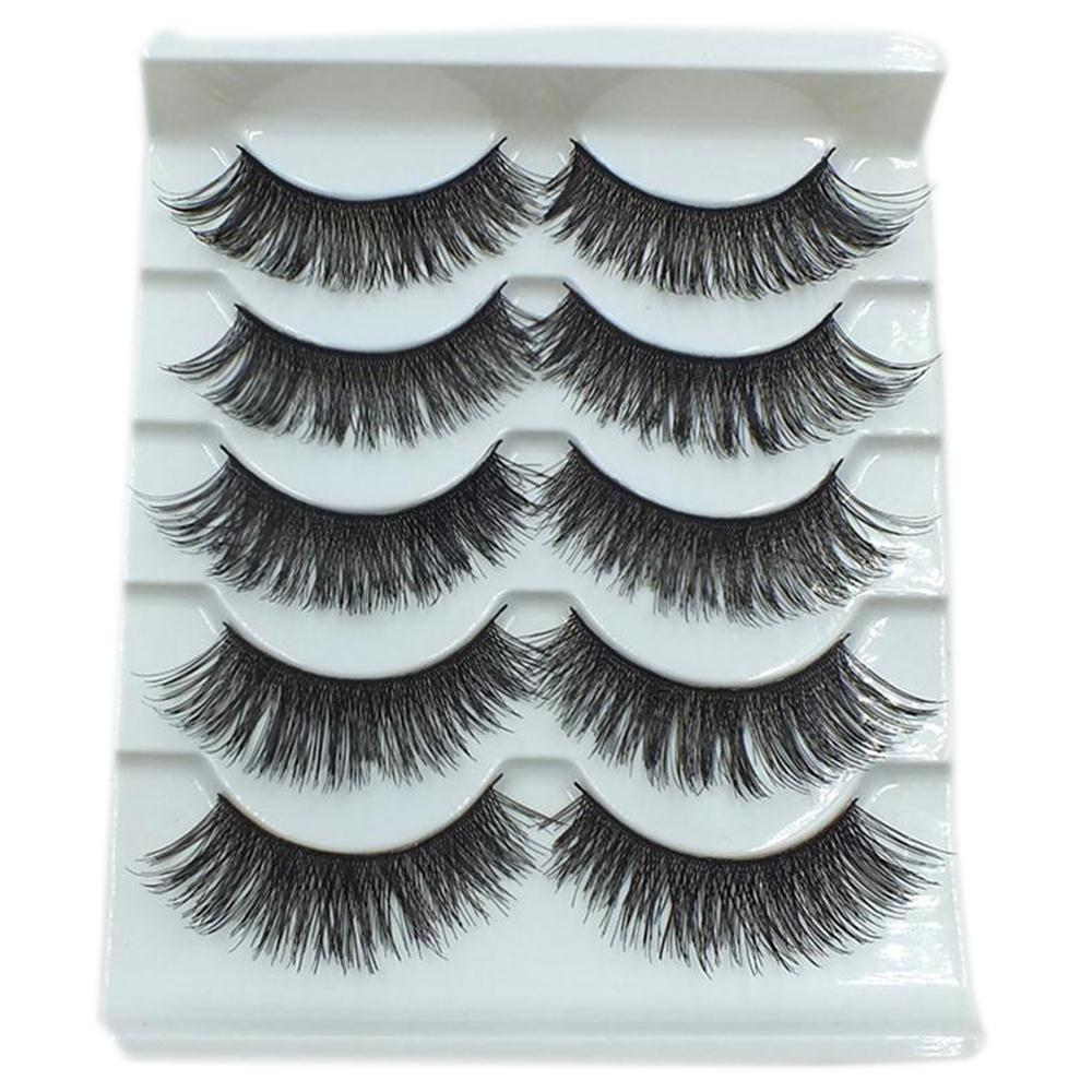 5 Pairs Makeup Long Thick Cross False Eyelashes Smokey Big Eyes Eye Lashes Extension Tools New 001-teefury