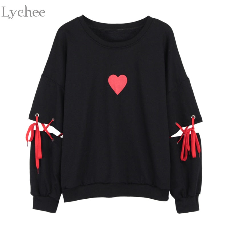Lychee Spring Autumn Women Sweatshirt Heart Print Lace Up Casual Loose Long Sleeve Pullover Cute Tracksuit-teefury
