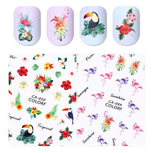 Flamingo Toucan 3D Nail Sticker Tropical Flower Bird DIY Nail Art Adhesive Transfer Sticker Manicure Nail Art Decoration-teefury