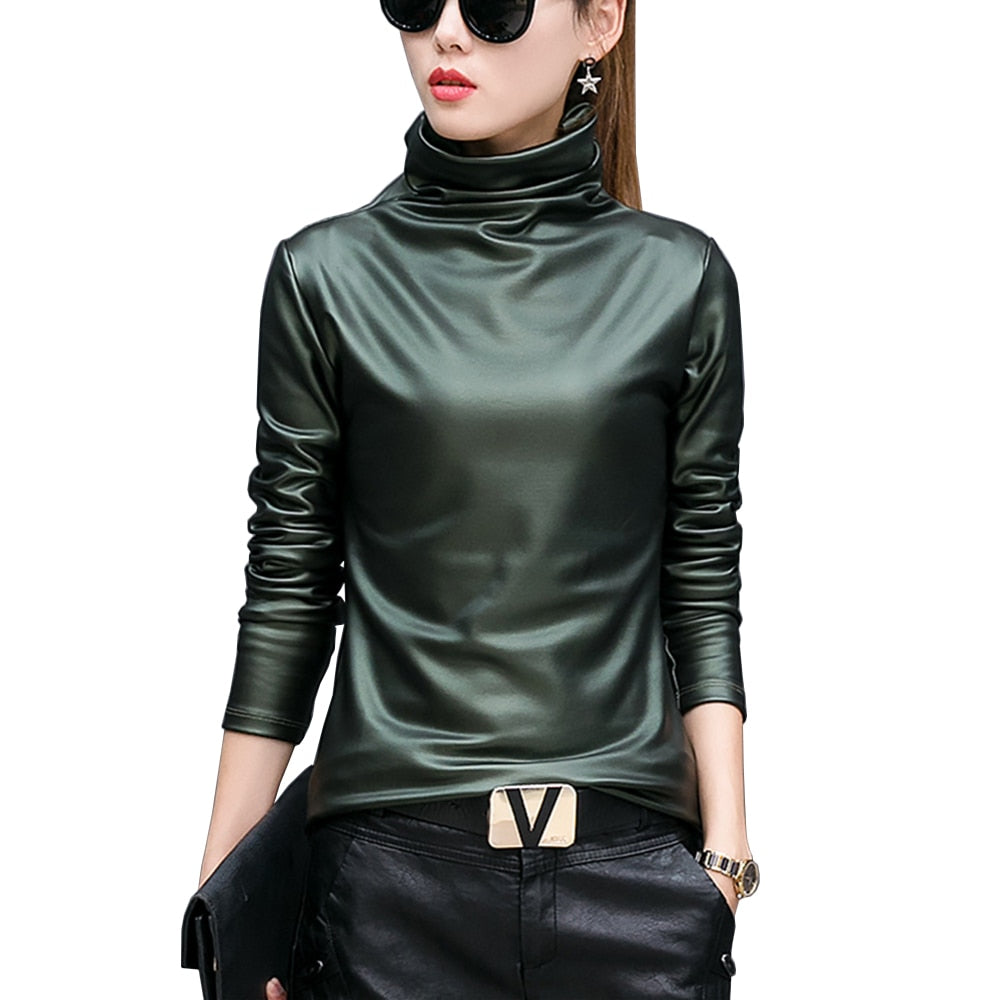European punk plus size women blouse autumn turtleneck long sleeve tops shirt ladies velvet stretch camisas PU leather blouses-teefury
