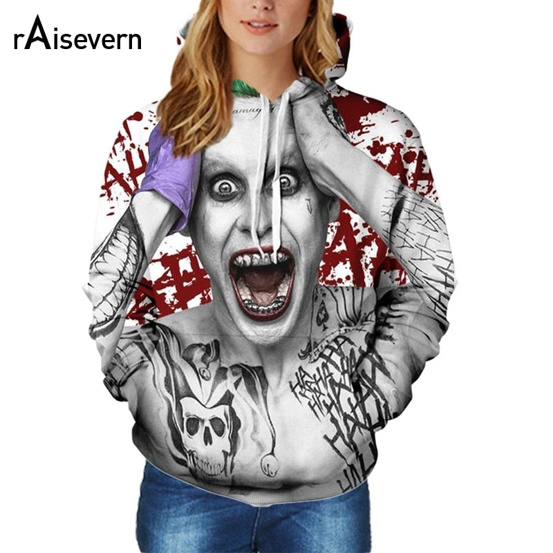 60502d97b6c Raisevern New Joker Hoodie Suicide Squad Joker Full Print 3D Sweatshirt Men  Women Unisex Hoodies Sweatshirt