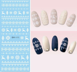 NEW DS372 White Xmas Reindeer Knits Snowflakes Snow Water Transfer Nails Art Sticker Decal Winter Nordic Styles Nail Wraps Tips-teefury