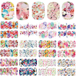 25 Sheets Nail Art Sticker Sets Mixed Color Flower Full Water Decals Butterfly Slider Stickers For Polish Manicure TRWG266-290-teefury