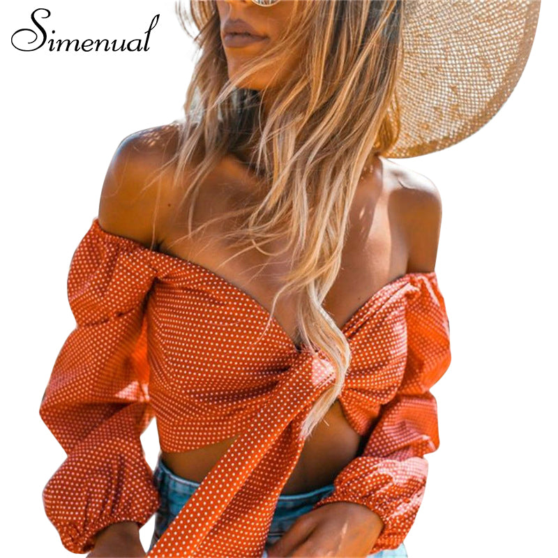 Simenual Polka dot off shoulder crop top crisscross bow tie sexy hot womens tops and blouses v neck lantern long sleeve blouse-teefury
