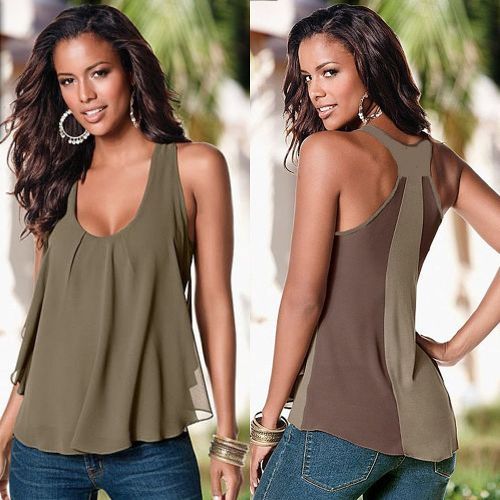# Vestido 2017 Women Sexy Chiffon Sleeveless Blouse Camisa feminina Ladies Sexy Loose Casual Vest Tank Summer tops17-teefury