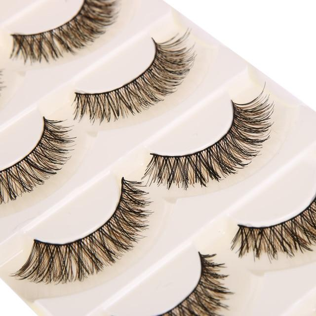 5 pairs Handmade Cotton Stalk Water Mink False Eyelashes Cross Messy Dense Natural Eye Lashes Stage Makeup Black and Brown color-teefury