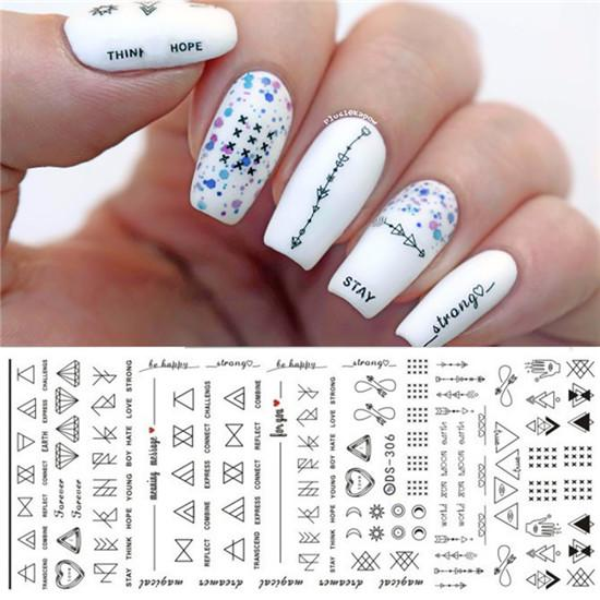 2 Sheets Purple Floral Water Decal Colorful Flower Nail Art Transfer Sticker for DIY Manicure Decorations-teefury
