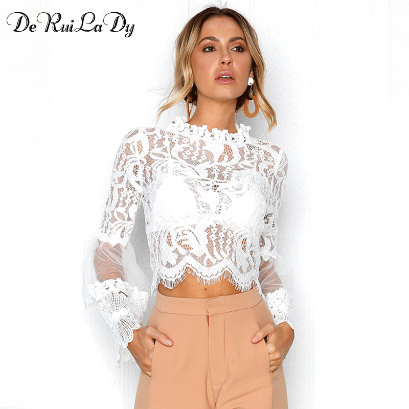 DeRuiLaDy Sexy Hollow Out White Lace Blouse Shirt Women Elegant Flare Sleeve Summer Blouses Female Casual Long Sleeve Tops Blusa-teefury