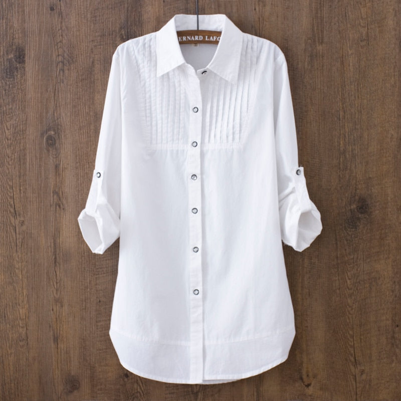 100% cotton 2018 Spring Summer Women White blouse long-sleeved slim cotton casual work white shirts office lady button tops 0.22-teefury
