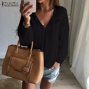 Oversized 2018 Autumn ZANZEA Women Casual Loose Lace Solid Blouses Shirts Sexy V Neck Long Sleeve Splice Hollow Out Blusas Tops-teefury