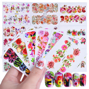 45pcs Mixed Designs Full Charms Sticker Nail Art Water Decals Deep Color Flower Rabbit Cartoon DIY Decor Manicure Tips TRWG45-teefury