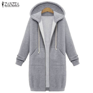 ZANZEA Women 2018 Autumn Winter Casual Long Hoodies Sweatshirt Coat Pockets Zip Up Outerwear Hooded Jacket Plus Size Tops-teefury