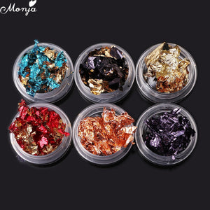 6 Jar/set Colorful Nail Art Glitter Aluminum Foils Flake Sticker Decals DIY Decoration Manicure Tools-teefury