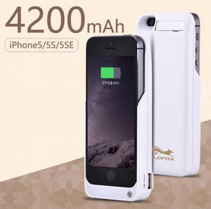 4200mAh Portable Backup External Battery Charger Case For 5 S Powerbank Pack Charging Case Cover For iPhone 5 5S SE Battery Case-teefury