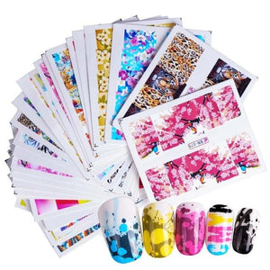 50 sheets Beauty Floral Design Water Transfer Nail Art Sticker Watermark Foil Wrap Decal DIY Decoration Nail Tools SAXF1422-1469-teefury