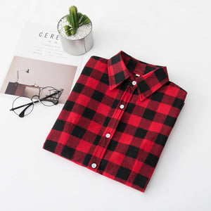 2018 New Brand Women Blouses Long Sleeve Shirts Cotton Red Black Flannel Plaid Shirt Casual Female Plus Size Blouse Tops Clothes-teefury