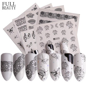Full Beauty 40pcs Nail Art Sticker Lace Black Flowers Butterfly Design Water Transfer Nail Art Decals Decor Foil Set CHA577-624-teefury