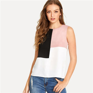 Sheinside Colorblock Blouse Round Neck Sleeveless Office Ladies Workwear Elegant Multicolor Top Summer Women Casual Blouse-teefury